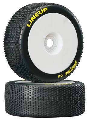 DTXC3620 Lineup 1/8 Buggy Tire C2 Mounted White (2)