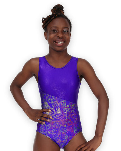 Switch/Grape Paisley Gymnastics Leotard