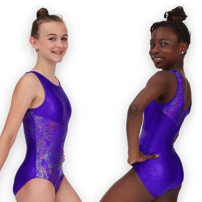 Leap Gear Switch/Grape Paisley Gymnastics Leotard