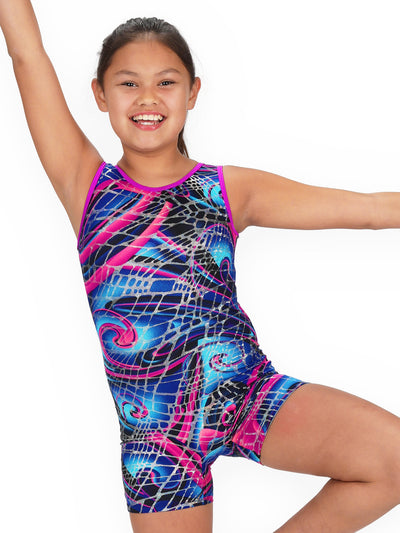 Leap Gear Abstract Swirl Gymnastics Biketard