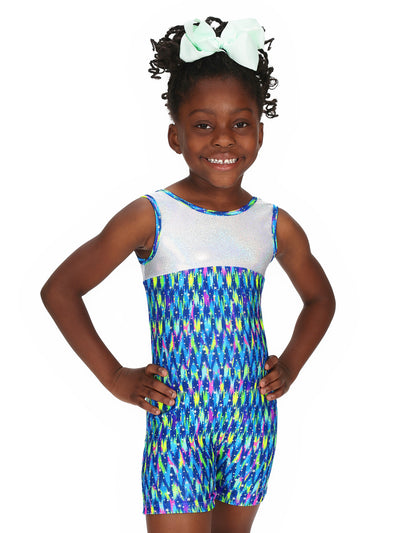 Leap Gear Blue Chevron Stars Gymnastics Biketard