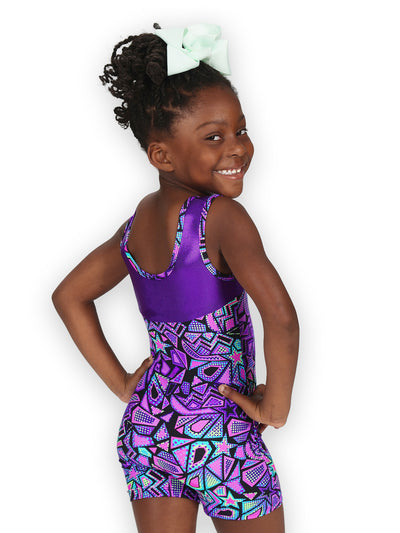 Leap Gear Purple Comic Stars Gymnastics Biketard