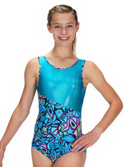Leap Gear Switch/Turquoise Comic Stars Gymnastics Leotard