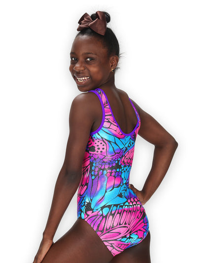 Leap Gear Pink Butterfly Wings Gymnastics Leotard