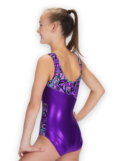 Leap Gear Switch/Purple Comic Stars Gymnastics Leotard