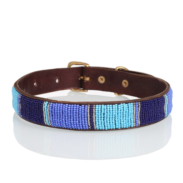 Blue & Silver Beaded Leather Collar