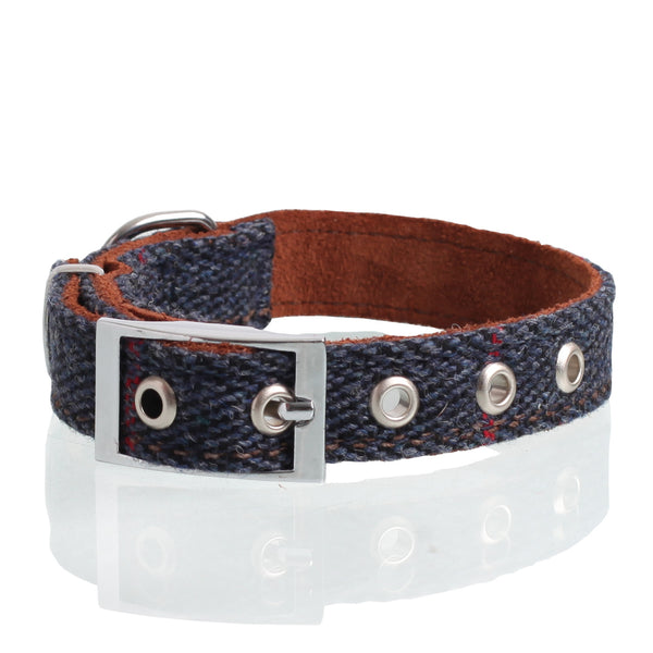 Navy Tweed Collar