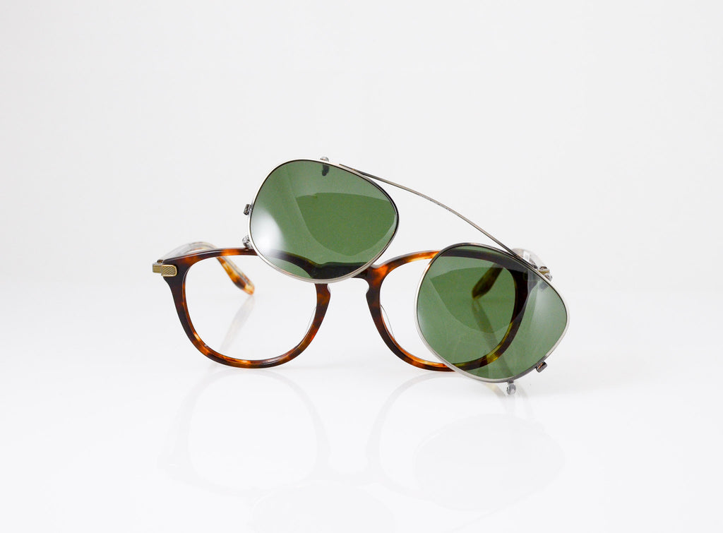 Barton Perreira Kemp Eyeglasses in Chestnut, with sun clip, front view, from Specs Optometry
