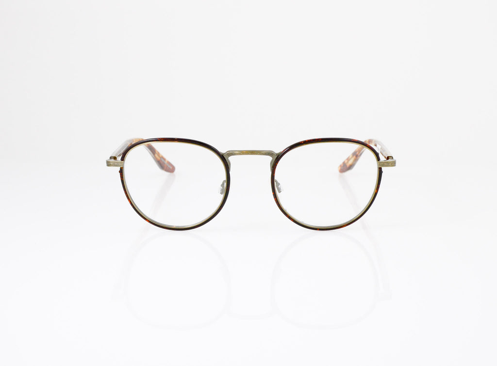 Barton Perreira Lantz Eyeglasses in Dark Havana with Antique Gold, front view, from Specs Optometry