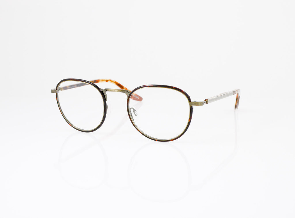 Barton Perreira Lantz Eyeglasses in Dark Havana with Antique Gold, side view, from Specs Optometry