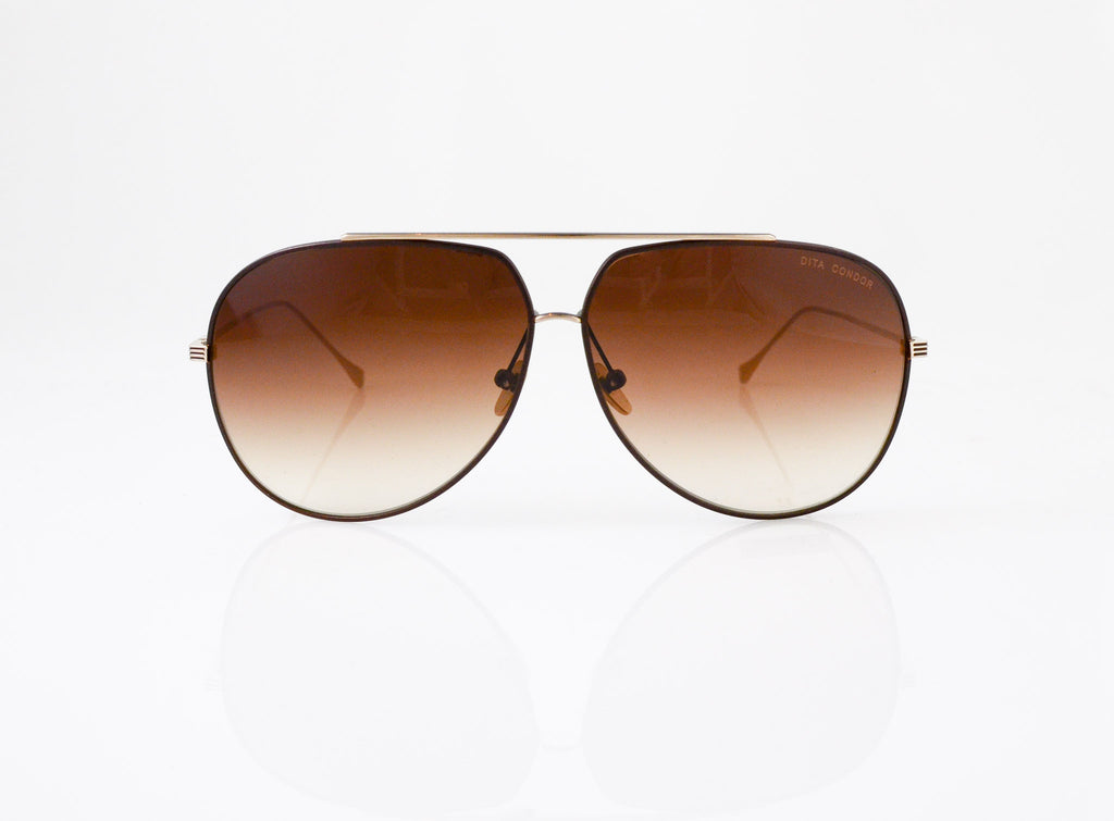 DITA Condor Sunglasses in Satin Brown & Champagne Gold, front view, from Specs Optometry