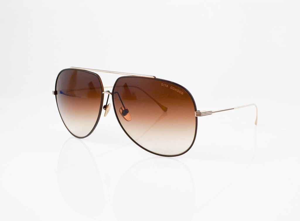 DITA Condor Sunglasses in Satin Brown & Champagne Gold, side view, from Specs Optometry