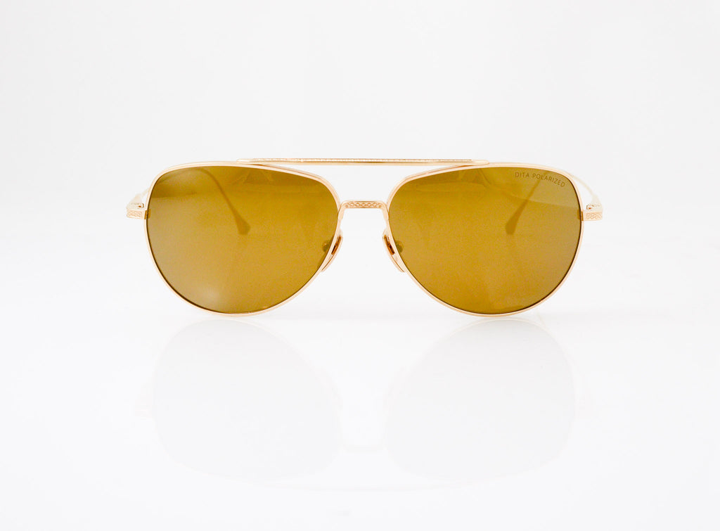 DITA Flight 004 Sunglasses in 12k Gold with Polarized Dark Brown Gradient lens, front view, from Specs Optometry