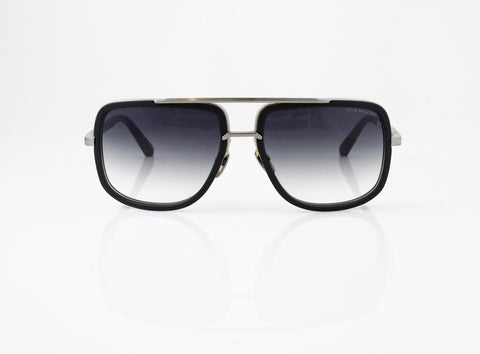 DITA Mach One Sunglasses in Matte Black Antique Silver, front view, from Specs Optometry