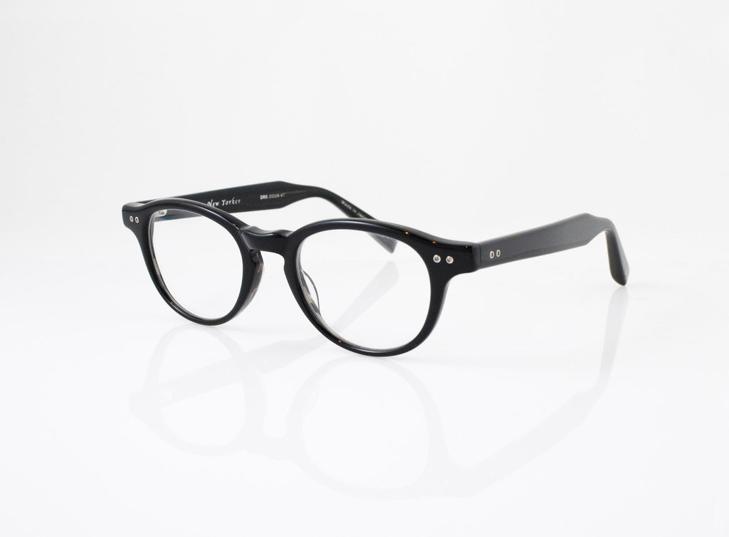 DITA New Yorker Eyeglasses in Black with Black Swirl, side view, from Specs Optometry