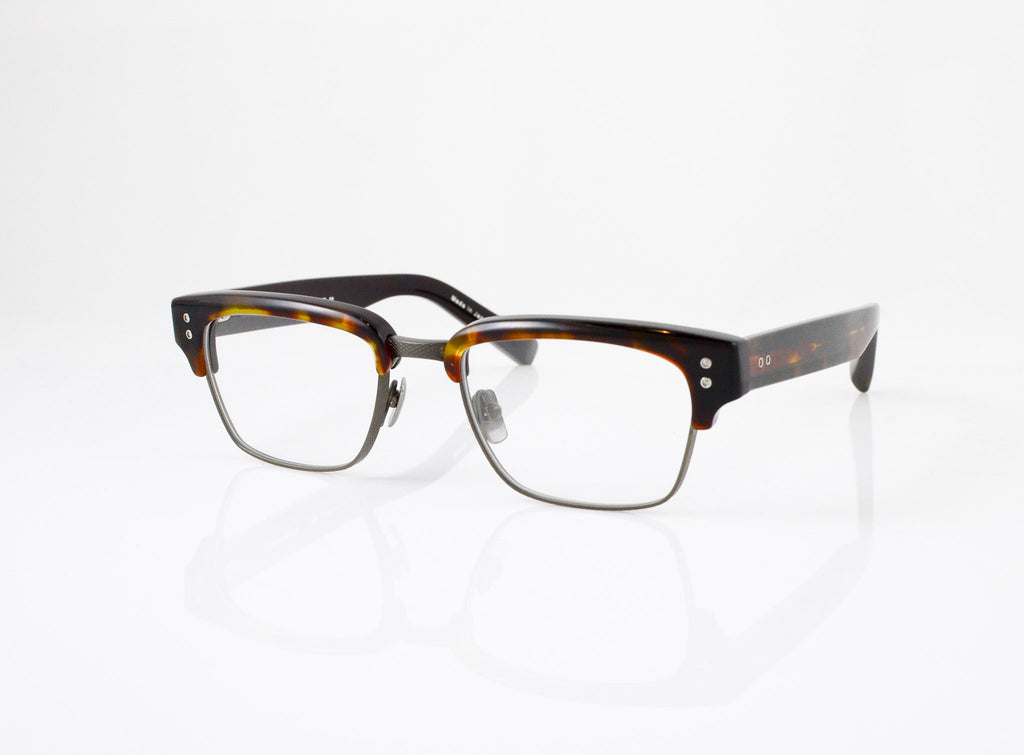 DITA Statesman Eyeglasses in Dark Tortoise with Burnt Brown, side view, from Specs Optometry