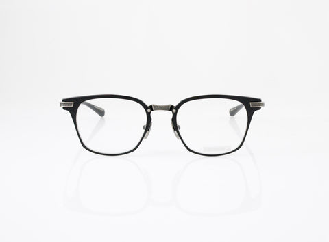 DITA Union Eyeglasses in Matte Black with Antique Silver, front view, from Specs Optometry