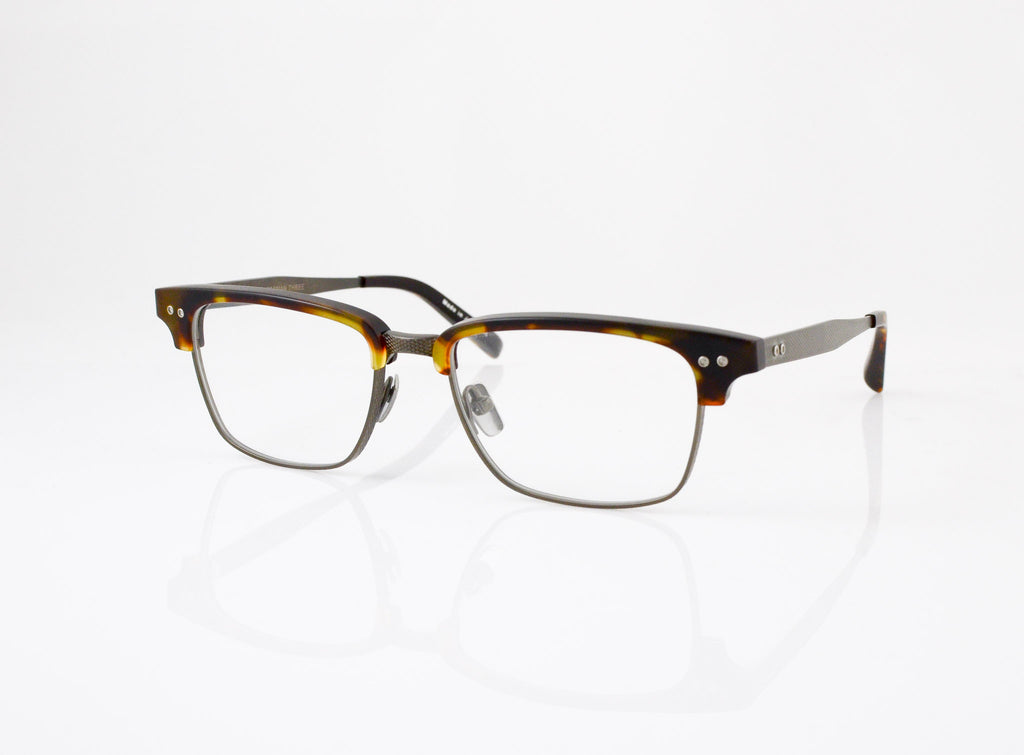 DITA Statesman Three Eyeglasses in Matte Tortoise with Burnt Brown, side view, from Specs Optometry