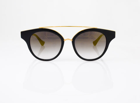 DITA Medina Sunglasses in Black with Shiny 18k Gold, front view, from Specs Optometry