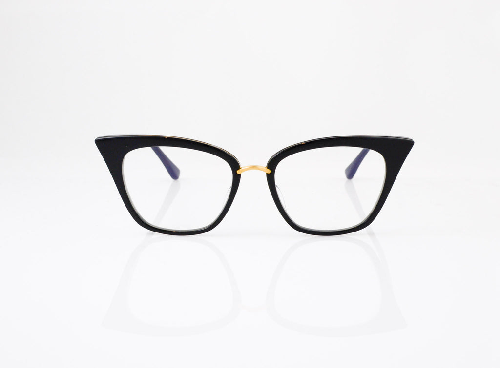 DITA Rebella Eyeglasses in Black with 18k Gold, front view, from Specs Optometry