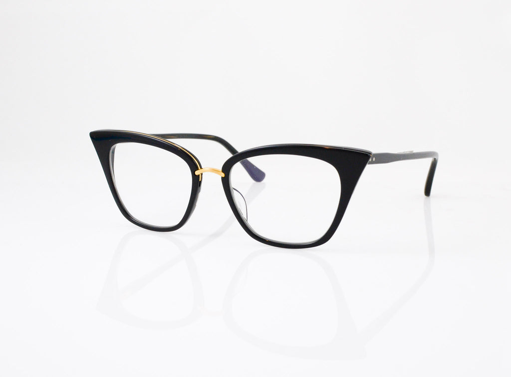 DITA Rebella Eyeglasses in Black with 18k Gold, side view, from Specs Optometry