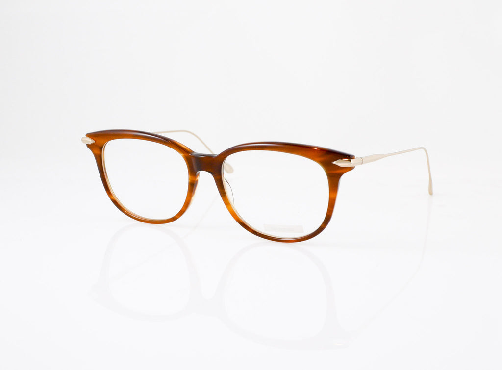 DITA Chic Eyeglasses in Amber Maple with Champagne, side view, from Specs Optometry