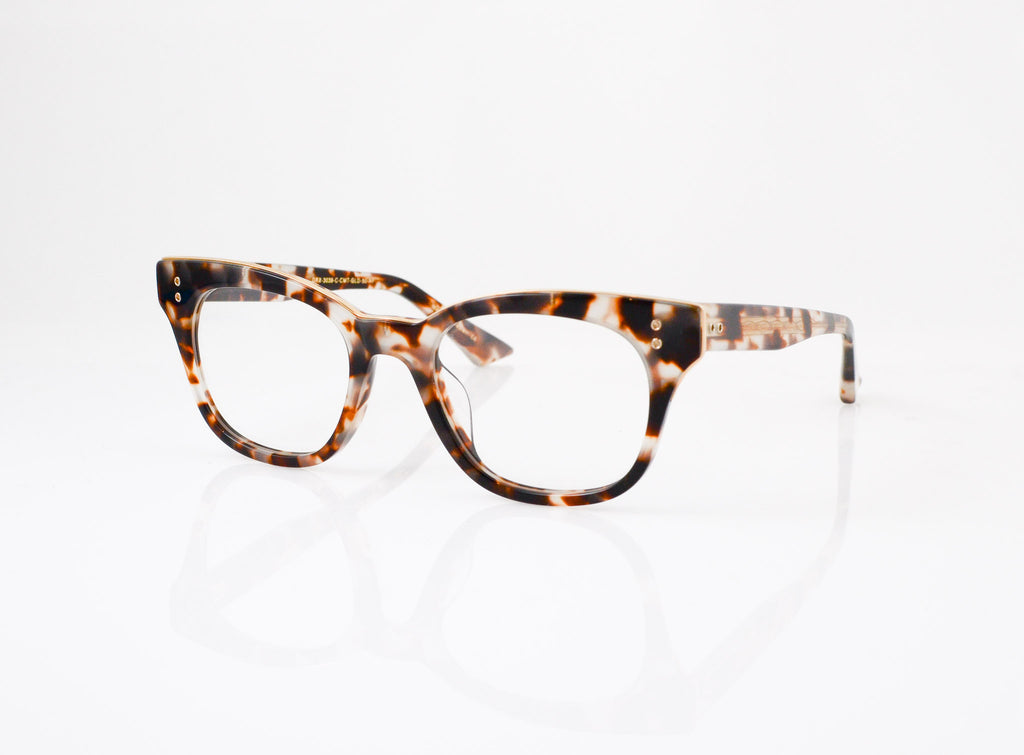 DITA Rhythm Eyeglasses in Cream Tortoise with 14k Gold, side view, from Specs Optometry