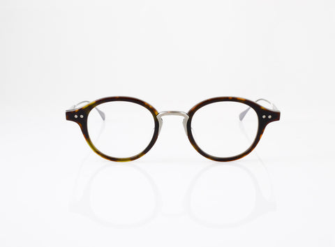 DITA Spruce Eyeglasses in Dark Tortoise with Antique Silver, front view, from Specs Optometry