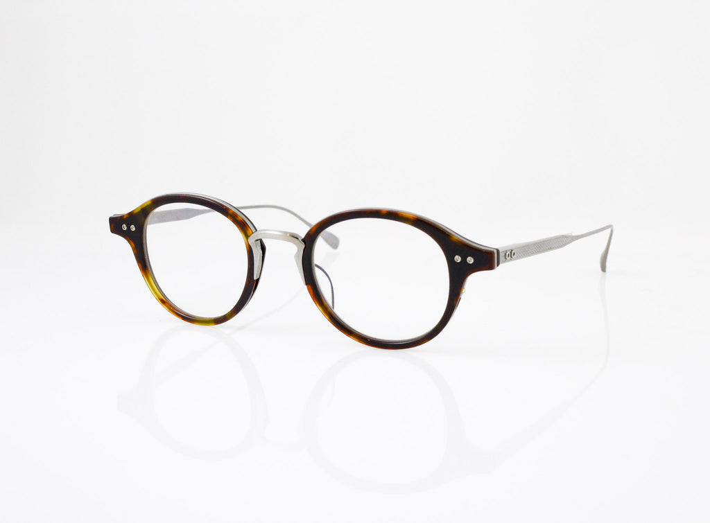 DITA Spruce Eyeglasses in Dark Tortoise with Antique Silver, side view, from Specs Optometry