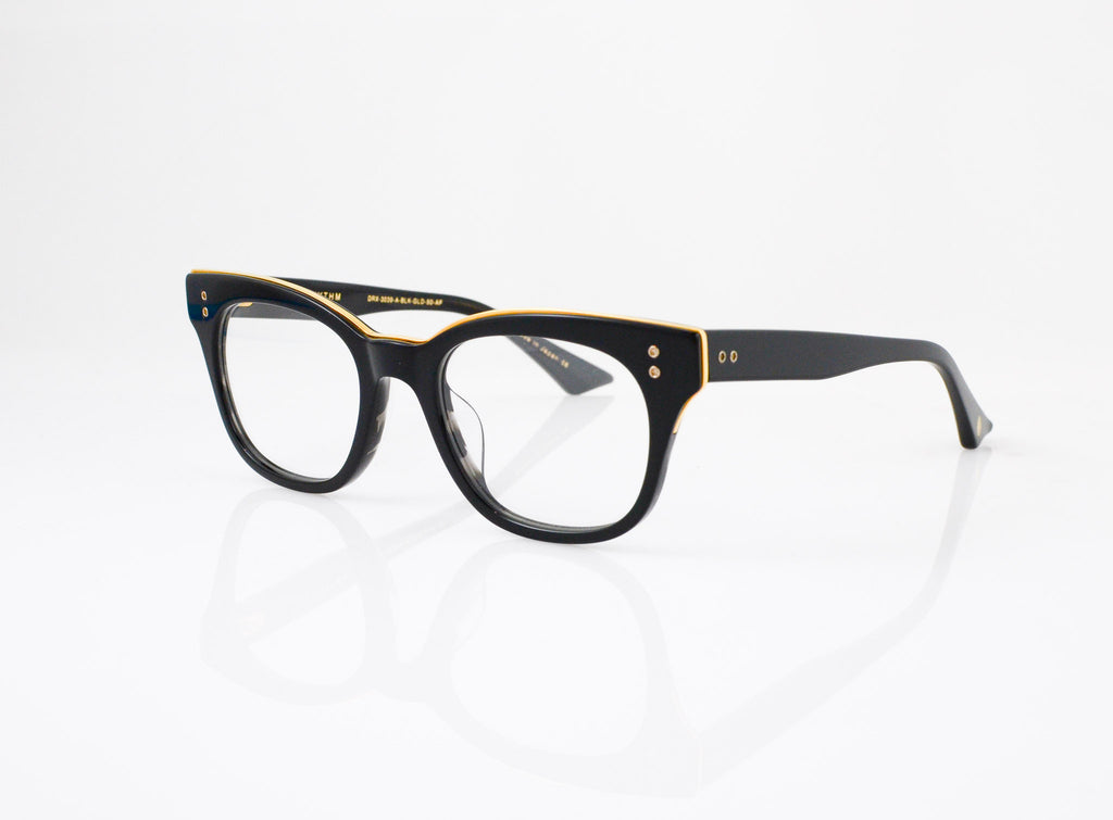 DITA Rhythm Eyeglasses in Black with 18k Gold, side view, from Specs Optometry