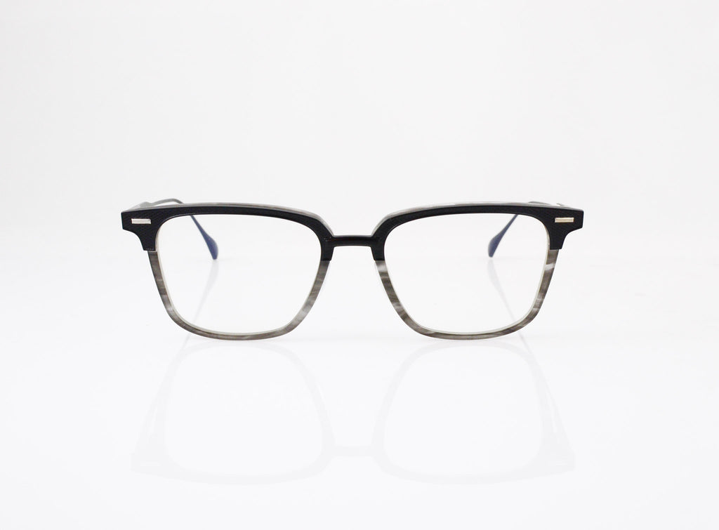 DITA Oak Eyeglasses in Matte Black with Matte Grey Swirl, front view, from Specs Optometry