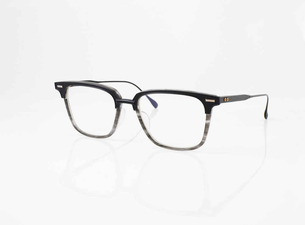 DITA Oak Eyeglasses in Matte Black with Matte Grey Swirl, side view, from Specs Optometry