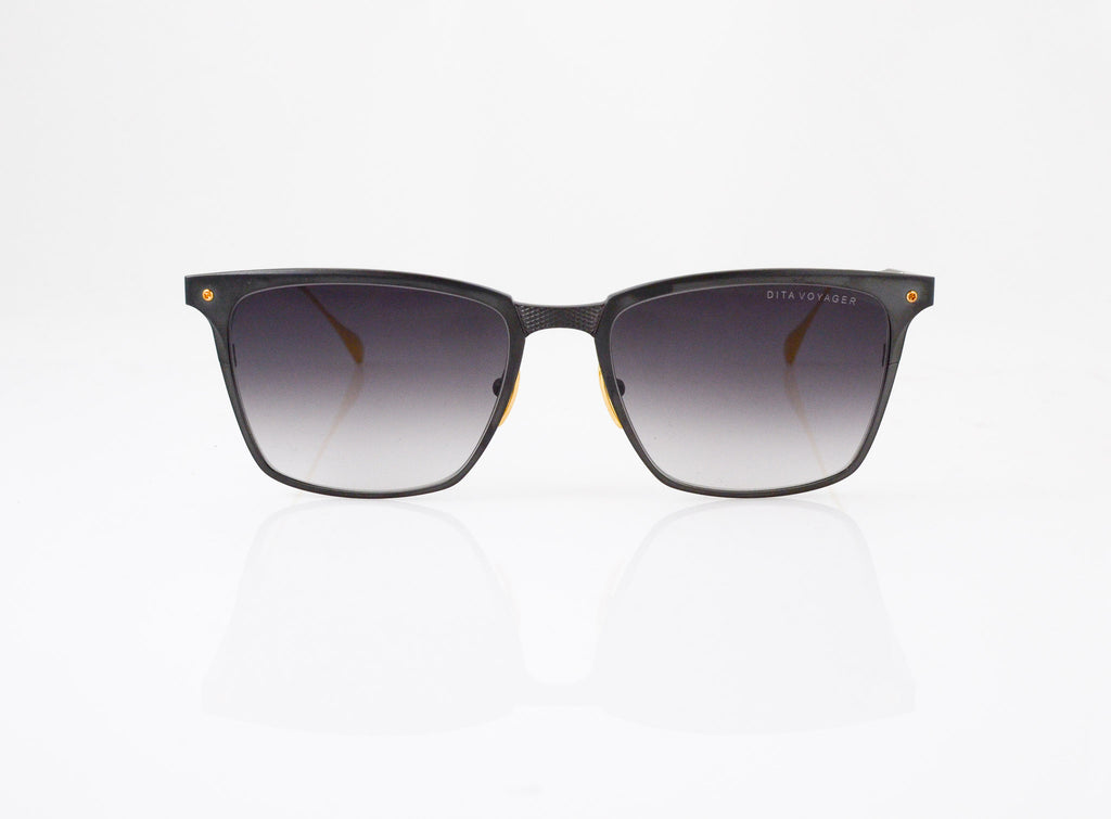 DITA Voyager Sunglasses in Black Iron with 18k Gold, side view, from Specs Optometry