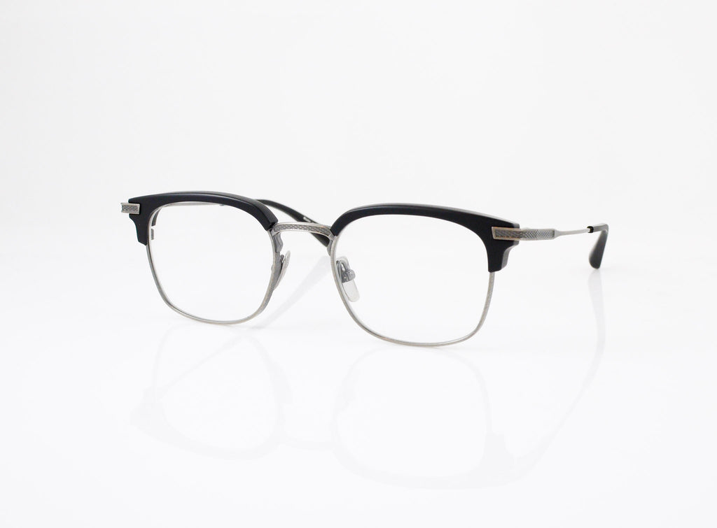 DITA Nomad Eyeglasses in Navy with Antique 18k Gold, side view, from Specs Optometry