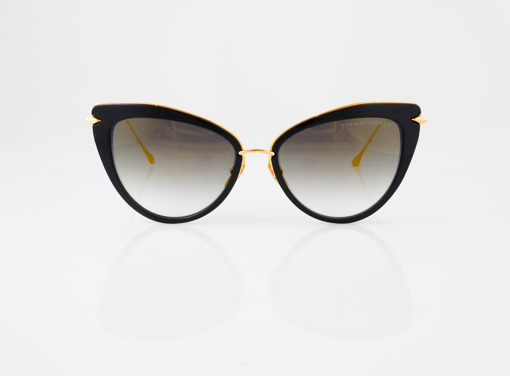 DITA Heartbreaker Sunglasses in Black with Gold, front view, from Specs Optometry
