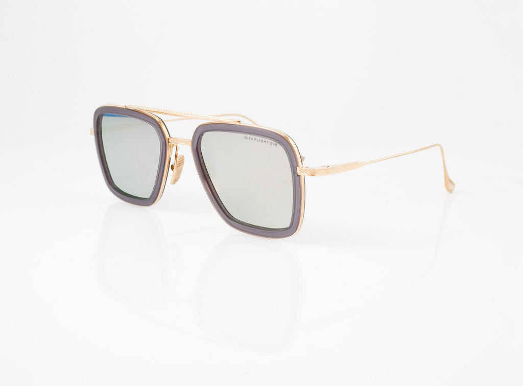DITA Flight 006 Sunglasses in Matte Grey Crystal with 12k Gold, side view, from Specs Optometry