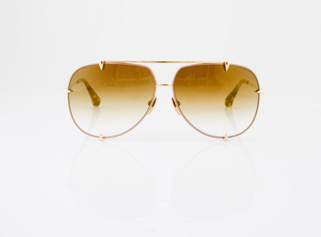 DITA Talon Sunglasses in Satin Tan with 12k Gold, front view, from Specs Optometry