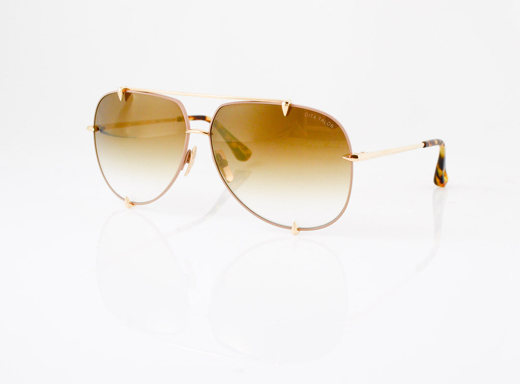 DITA Talon Sunglasses in Satin Tan with 12k Gold, side view, from Specs Optometry