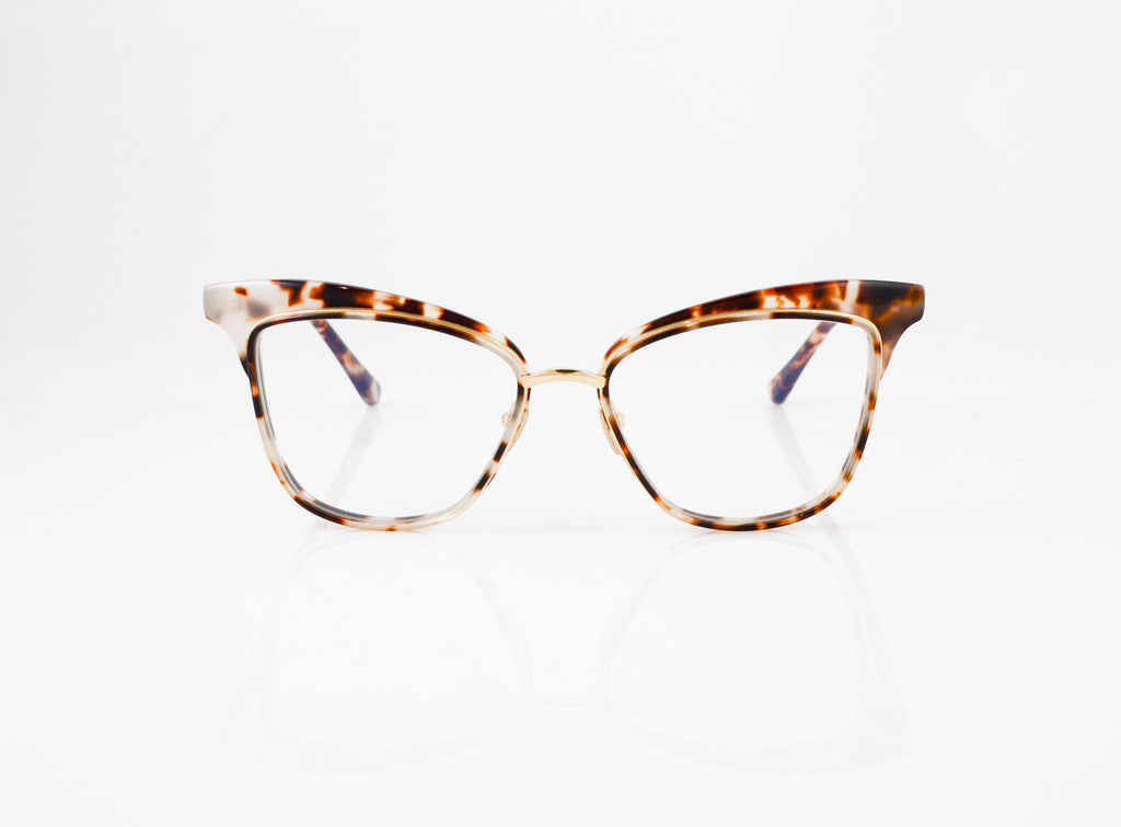 DITA Willow Eyeglasses in Cream Tortoise with 12k Gold, front view, from Specs Optometry