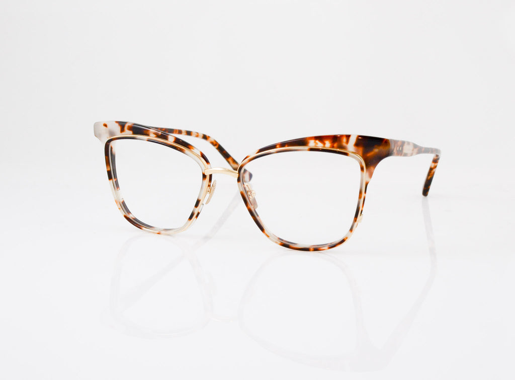 DITA Willow Eyeglasses in Cream Tortoise with 12k Gold, side view, from Specs Optometry