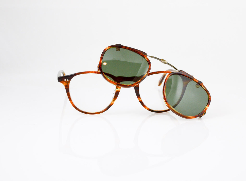 GLCO Hampton (44) Eyeglasses in Chestnut with optional sun clip, front view, from Specs Optometry
