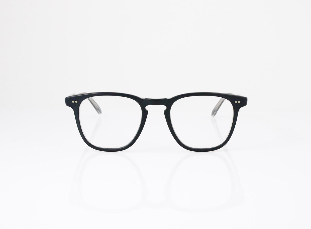 GLCO Brooks Eyeglasses in Matte Black with optional sun clip, front view, from Specs Optometry