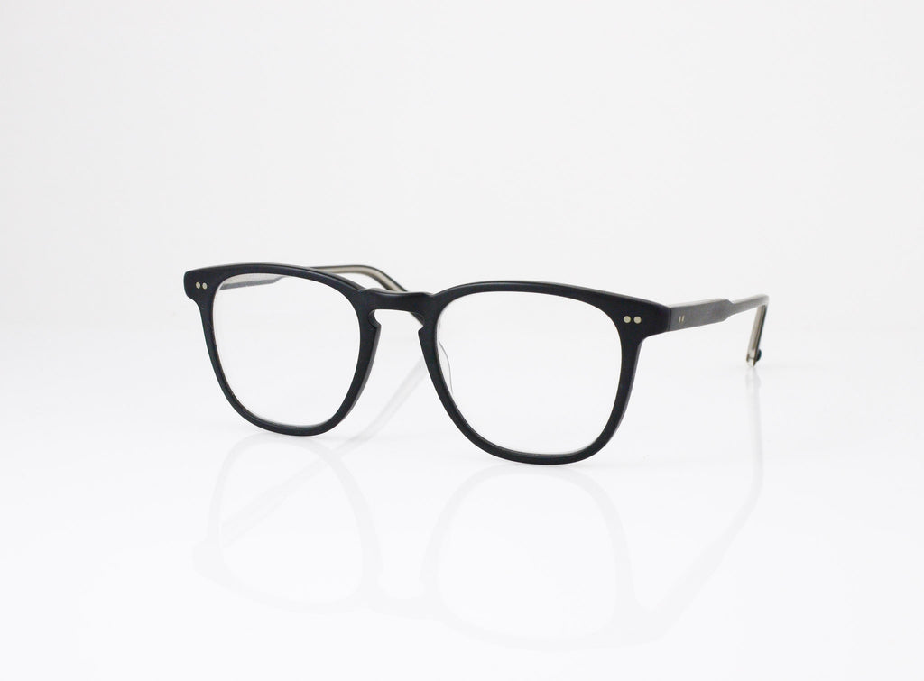 GLCO Brooks Eyeglasses in Matte Black with optional sun clip, side view, from Specs Optometry