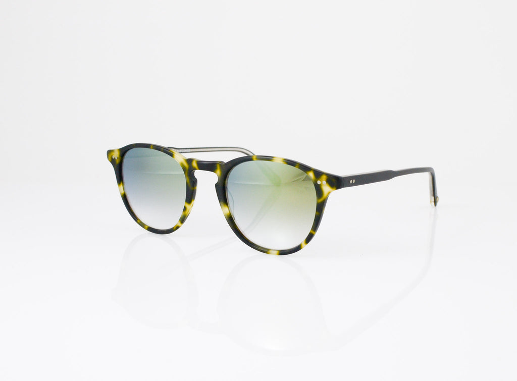 GLCO Hampton Sunglasses in Matte Tokyo Spotted Tortoise with Layered Gold Mirror lens, side view, from Specs Optometry