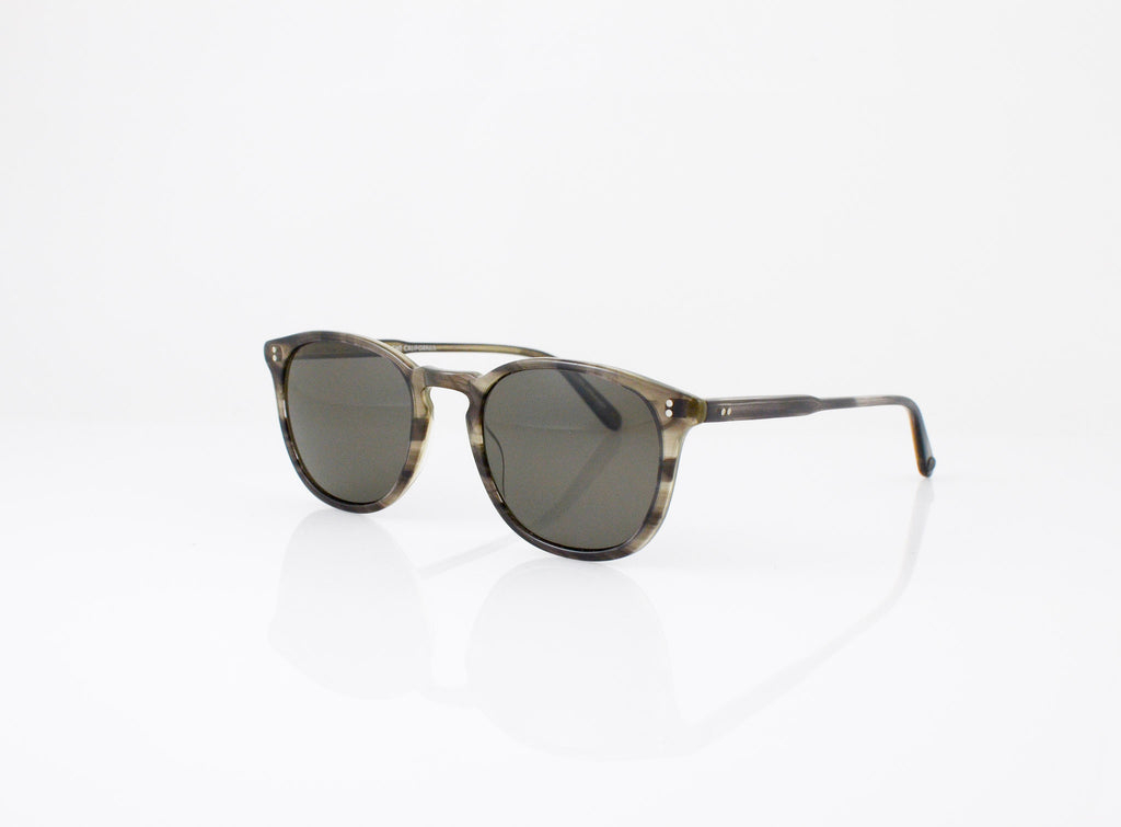 GLCO Kinney Sun in GI Tortoise Laminate with Polarized Grey lenses, side view, from Specs Optometry