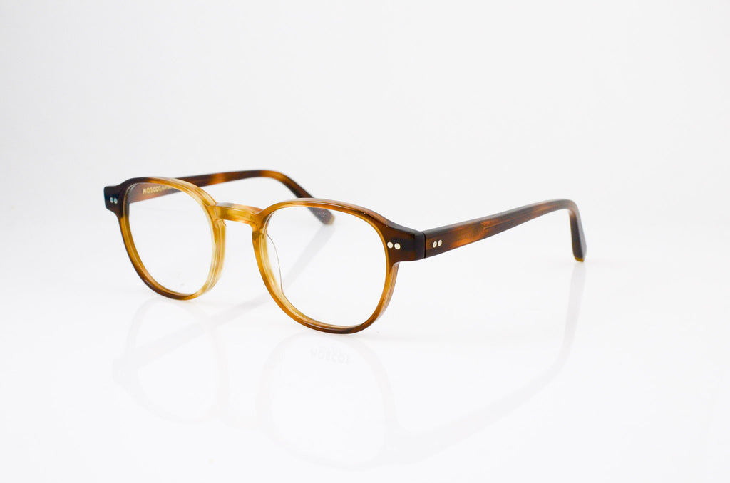 Moscot Arthur Eyeglasses in Tobacco, side view, from Specs Optometry