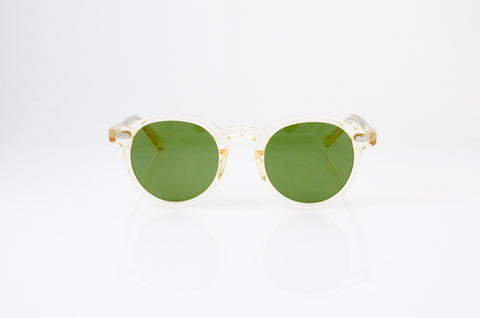 Moscot Miltzen Sunglasses in Flesh with Calibar Green lens, front view, from Specs Optometry