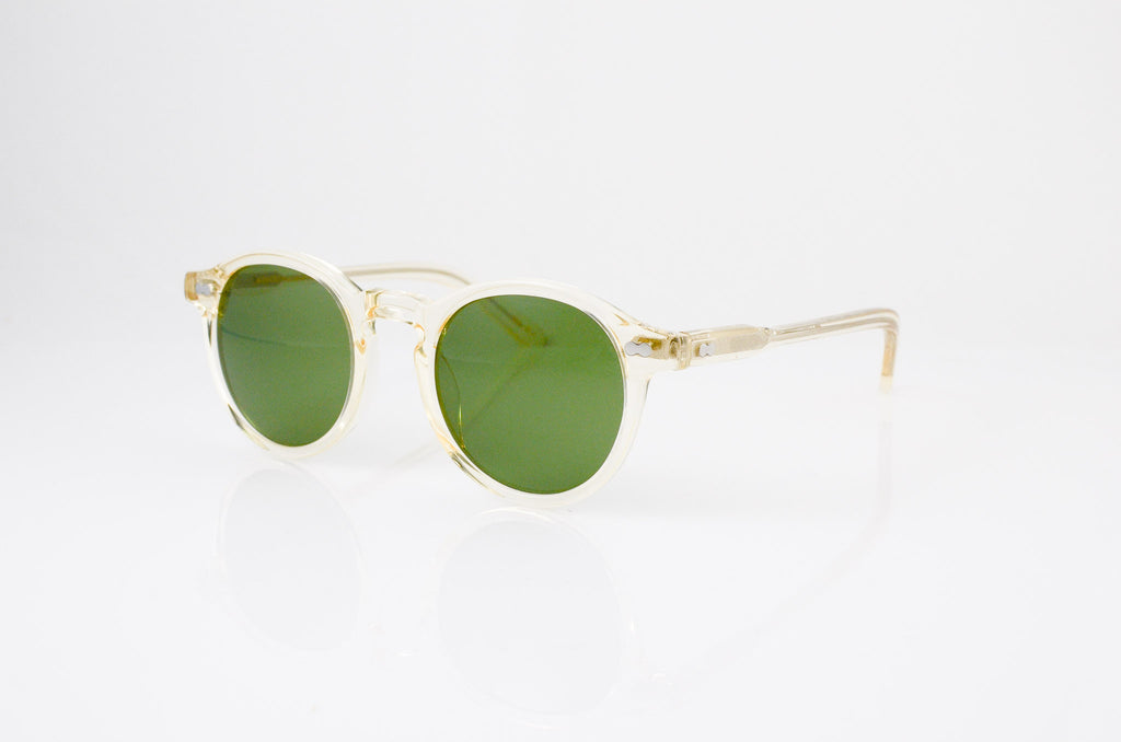 Moscot Miltzen Sunglasses in Flesh with Calibar Green lens, side view, from Specs Optometry