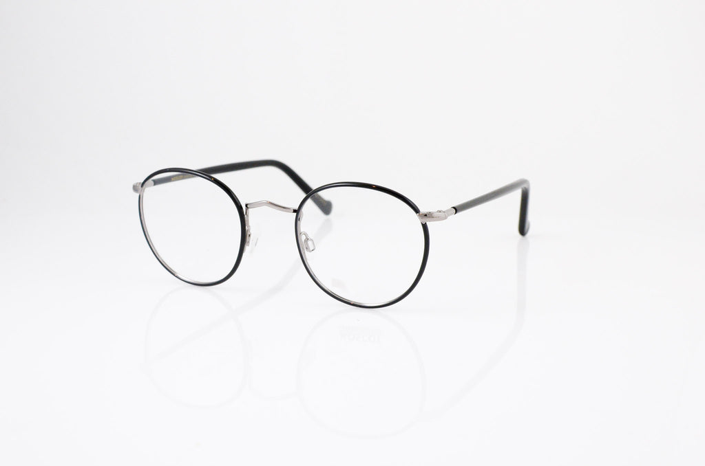 Moscot Zev Eyeglasses in Black Gunmetal, side view, from Specs Optometry