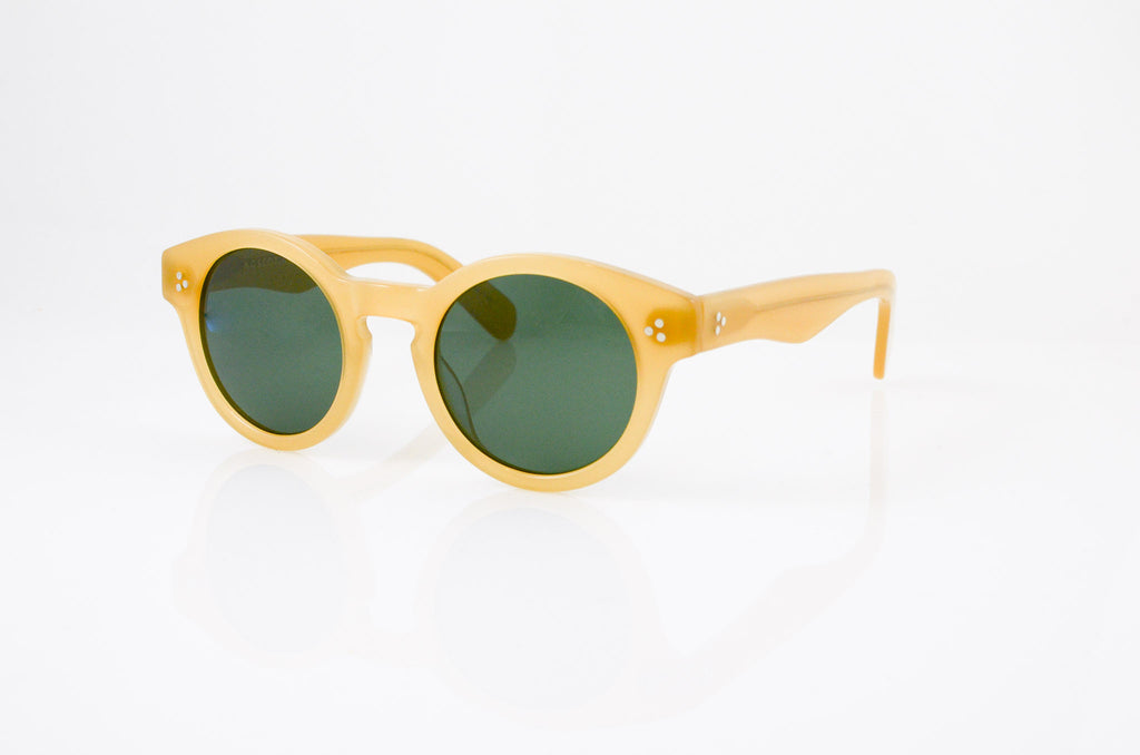 Moscot Grunya Sunglasses In Goldenrod, side view, from Specs Optometry